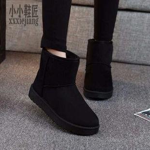 平底冬季短筒加絨雪地靴女保暖軟底棉鞋