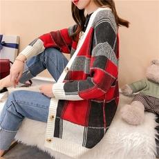 2018冬装新款韩版中长款宽松慵懒风格子撞色针织开衫女毛衣外套