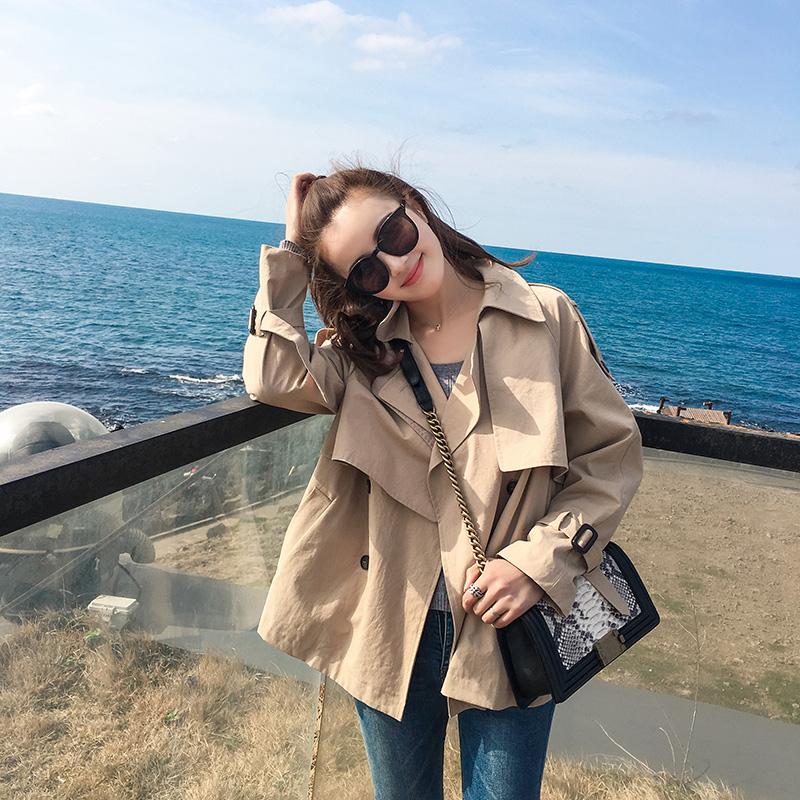 Mùa xuân và mùa thu áo ngắn của phụ nữ Hàn Quốc phiên bản 2018 new loose ulzzang sinh viên ngắn single-layer harbor áo gió mỏng