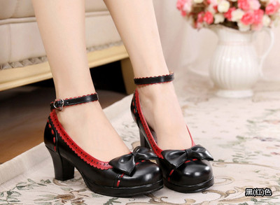 taobao agent Lolita bow cute student round head high thick heel color matching sweet small leather shoes