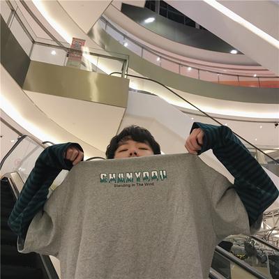 Nhỏ ở lại ~ mùa xuân người đàn ông mới của áo len Hàn Quốc phiên bản của áo len lỏng triều nam khâu tay áo len triều của nam giới áo sơ mi nam Áo len
