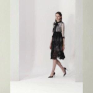 小視頻現貨歐洲站高端蕾絲拼接連衣裙 時尚修身顯瘦禮服裙