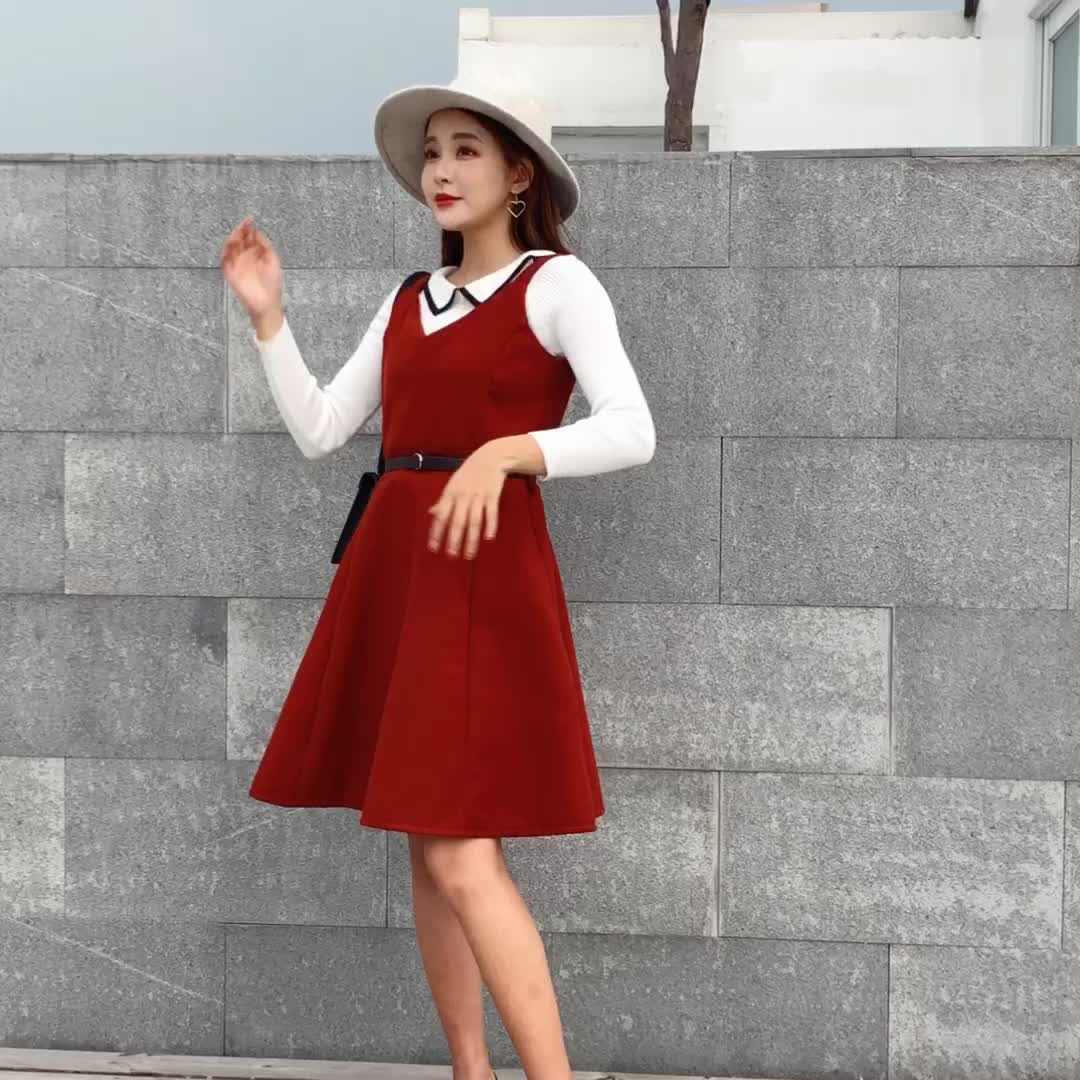 1077实拍小视频2018秋冬呢子裙chic少女V领双面呢吊带背心裙韩版