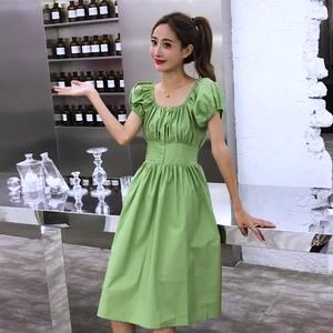 實拍 2019夏新款復古小清新牛油果綠色連衣裙女沙灘裙海邊度假裙