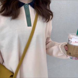 控5 實拍實價 韓版寬松百搭撞色上衣秋季polo衫長袖T恤女
