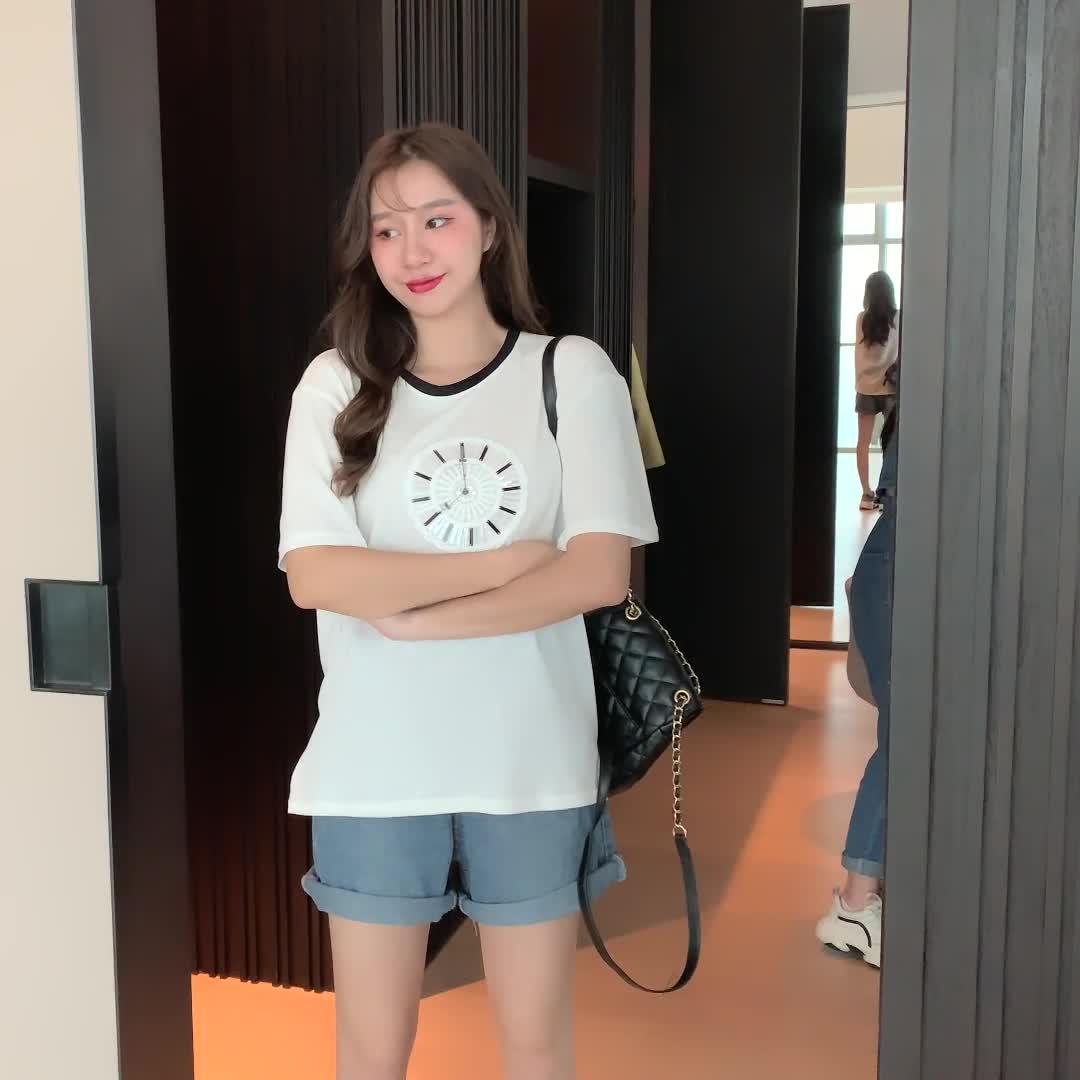 實拍!網紅同款小香風鐘表白色短袖T恤女ins潮超火寬松韓版夏上衣