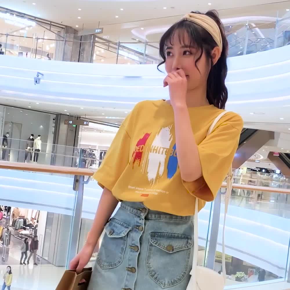 100棉檔口實拍2019情侶裝夏裝韓版短袖T恤寬松學生寬松班服