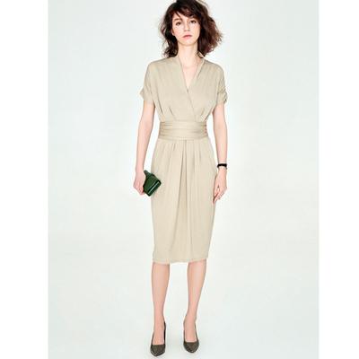 18 đề nghị mùa hè mới nhập khẩu vải thiết kế thanh lịch v- cổ áo mỏng bông đầm đầm Sản phẩm HOT