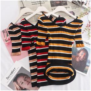 Taotao quần áo mùa hè mỏng cao đàn hồi V-Cổ sọc ngắn tay áo thun áo len phụ nữ 30546