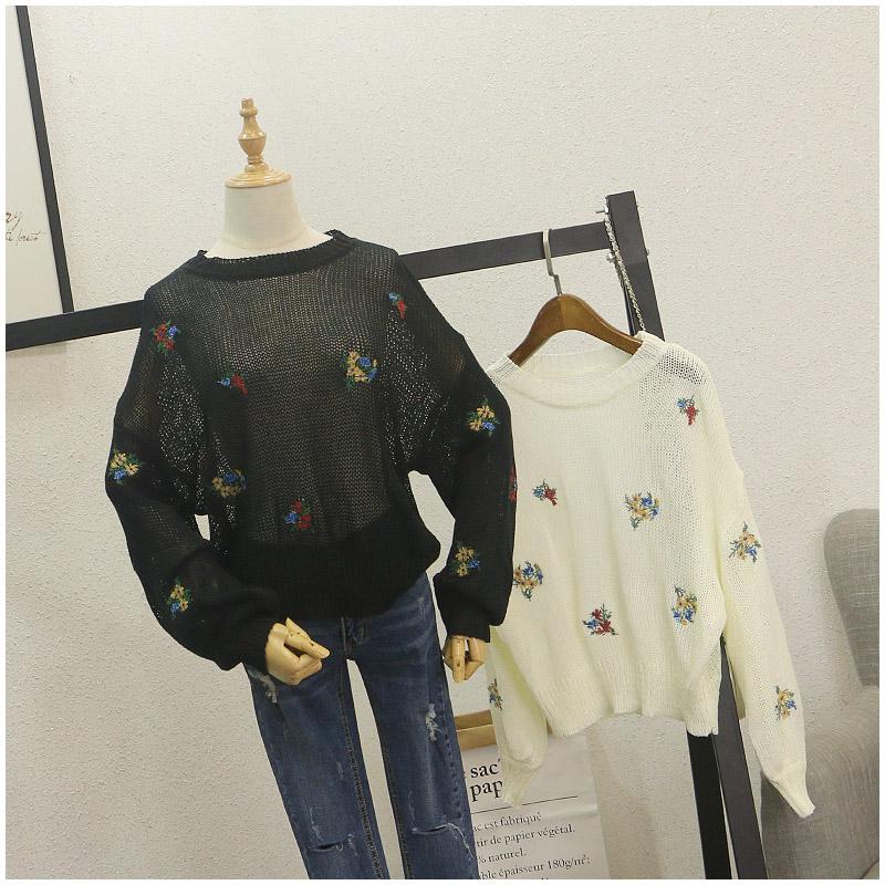 Taotao quần áo mùa hè mới phần mỏng thoáng khí kích thước lớn lỏng thêu hoa dài tay áo len phụ nữ 80088