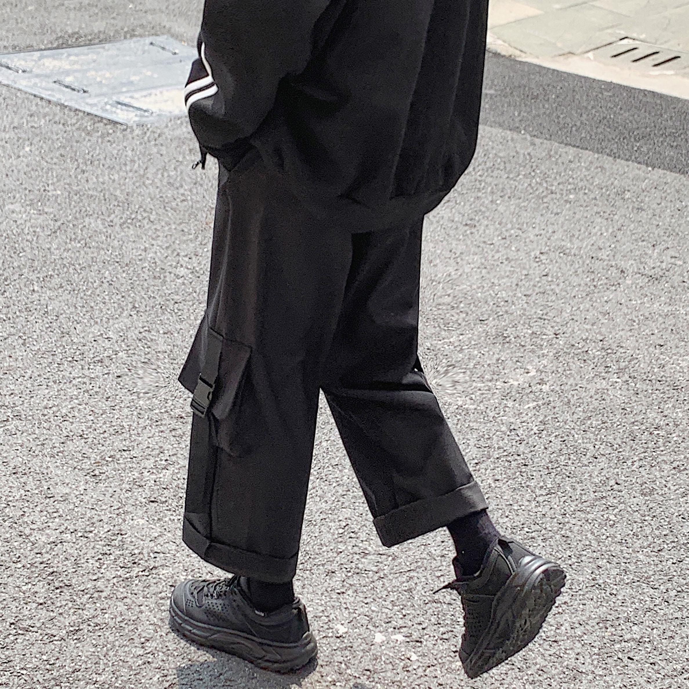 Quần yếm nam xu hướng mùa thu Hàn Quốc đen rộng chín điểm quần ống rộng ống rộng thương hiệu quần âu nam - Quần Harem