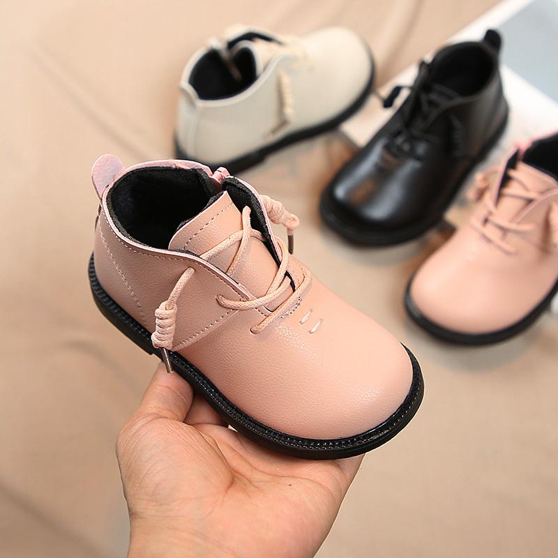 На девочку берцы 2019 осень-зима новая коллекция хлопок ботинок на мальчика ботинки популярный башмак детские Маленькие кожаные сапоги детские сапоги