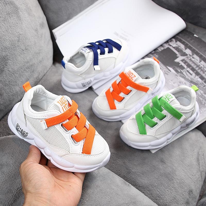 Детские Кроссовки 2019 осень новая коллекция воздухопроницаемый для отдыха башмак на девочку небольшой белый Дети в обуви на мальчика башмак