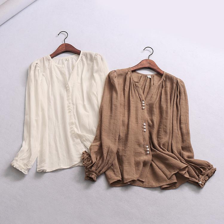 W309 女装 春季新款简洁纯色圆领单排扣长袖上衣女式雪纺衬衫衣