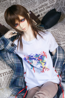taobao agent 【limited】【endless】White printed T-shirt top bjd doll baby clothes 13 male 17 male uncle