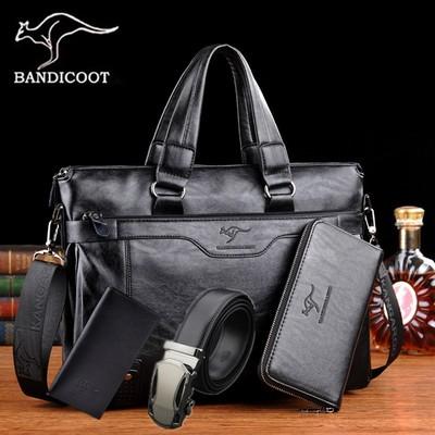 袋鼠男士手提包公文包休闲商务男式单肩包韩版软皮休闲时尚电脑包
