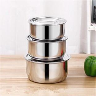 【盆带不锈钢缸加厚盖】汤锅盆汤碗调料打蛋汤盆三件套带盖油盆