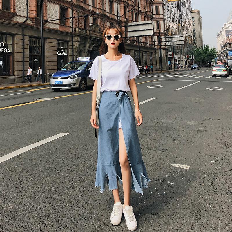 【朵维思】2018年女装韩版时尚夏季连衣裙牛仔半身裙两件套F6613
