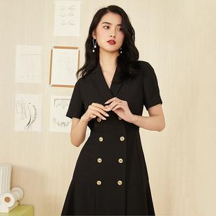新款夏法式复古裙赫本风小黑裙