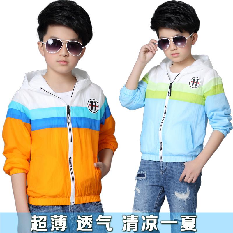 Trẻ em của mùa hè quần áo chống nắng 2018 new zipper cardigan ánh sáng coat thể thao ngoài trời quần áo UV quần áo da