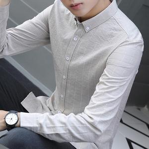 秋装长袖衬衫新款韩版潮流青年格子衬衣免烫休闲长袖寸衣帅气寸衫