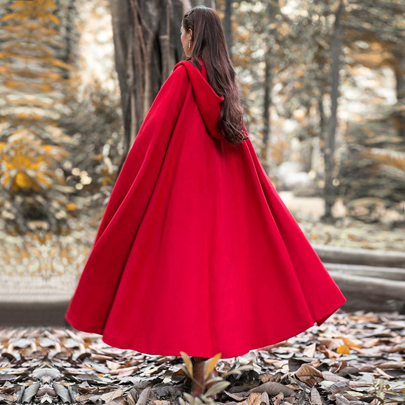 筱 辰 2018 mùa đông nạp áo choàng dày phù thủy mũ lớn con lắc áo choàng dài len cổ điển áo khoác nữ