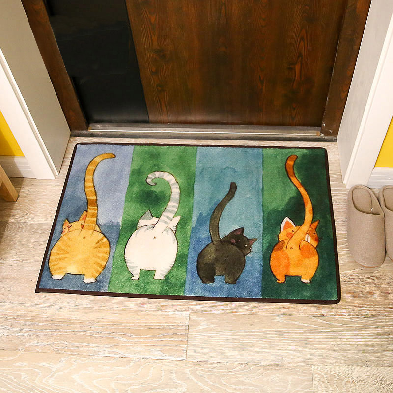 Симпатичный кот в японском стиле дверь Втолкнуть в дверь Коврик для гостиной спальня коврик для ног дверь Коврик для ванной нескользящие циновка