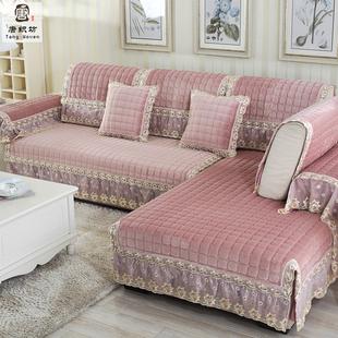 四季可用沙发坐垫冬季防滑布艺毛绒沙发罩