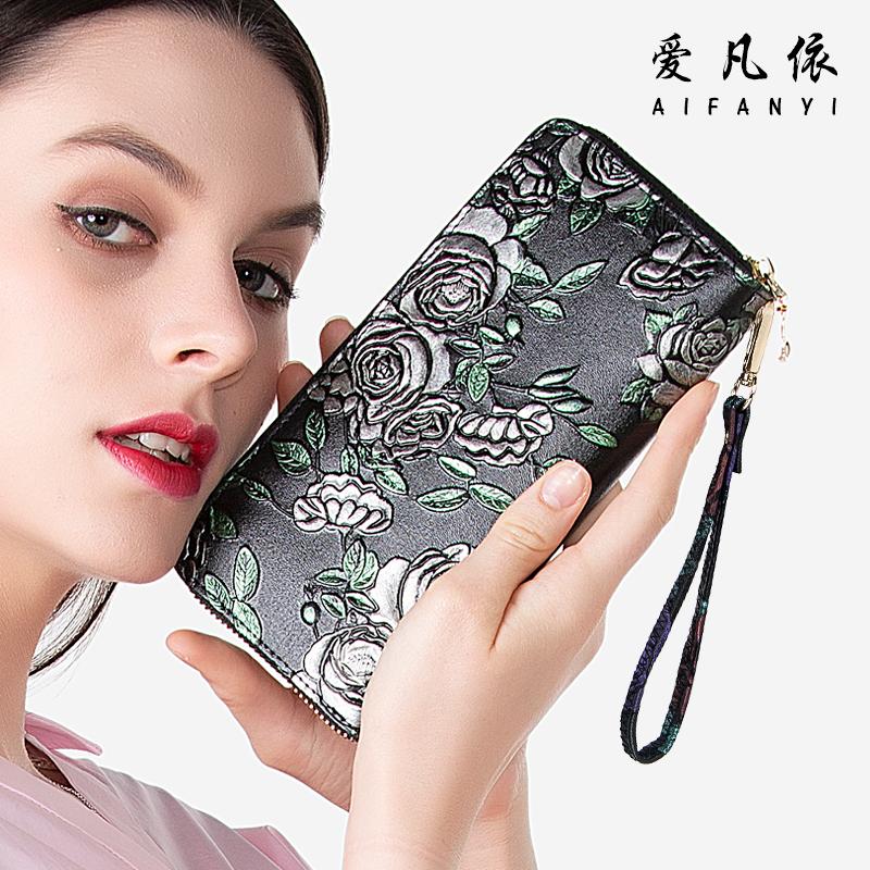 2018新款女士钱包长款拉链钱夹真皮多功能皮夹复古女手拿包大容量