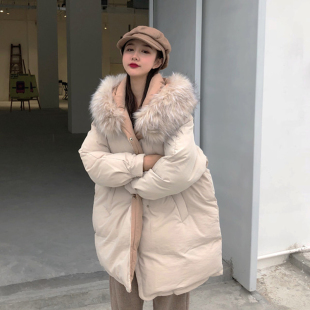 气质中长款宽松连帽加厚大毛领面包棉服外套
