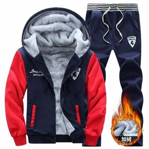 男士冬季新款套装个性潮男连帽卫衣加绒加厚保暖秋冬学生运动套装
