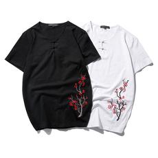 2018夏新款中国风复古盘口刺绣短袖男T恤QT4001-7053-P55限价78