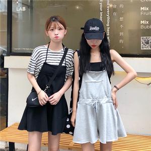实拍2992#2018夏季新款韩版收腰挂脖系带阔腿连体短裤