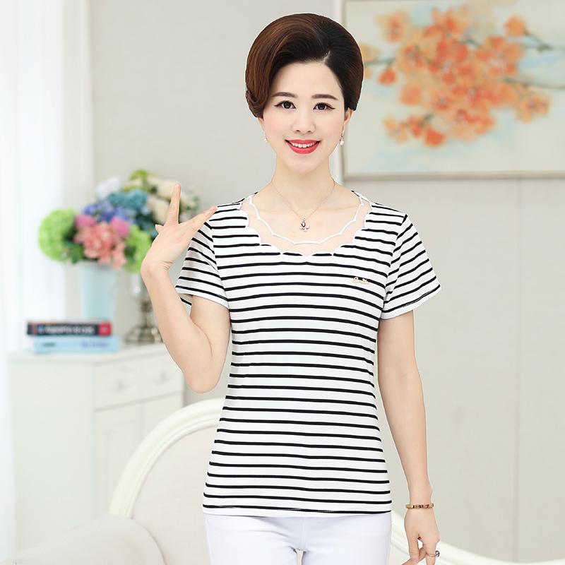 Mẹ nạp ngắn tay đáy áo sơ mi nữ phương thức bông đoạn ngắn cotton trung niên sọc t-shirt đáy áo kích thước lớn