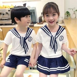 Mẫu giáo quần áo mùa hè ngắn tay phù hợp với trẻ em đồng phục học sinh tùy chỉnh tiểu học và trung học dịch vụ lớp học cao đẳng người Anh gió