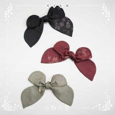 taobao agent 【Spot goods】NyaNya Moonlight Flower Lolita Original Printed Side Clip Tie Solid Color Necktie Small Object