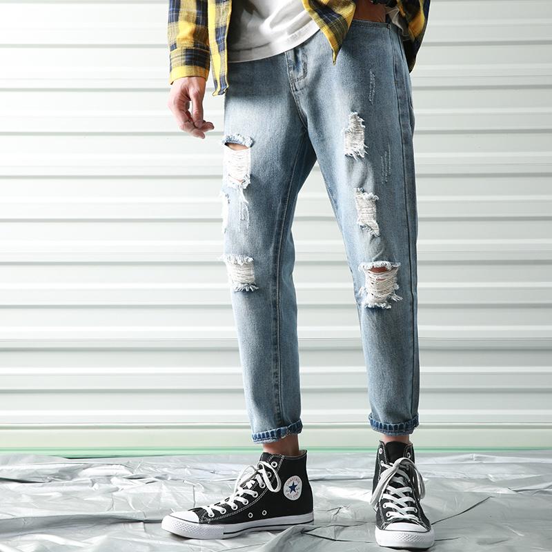 K901-P60春夏新款破洞牛仔裤男宽松哈伦裤九分裤日系加肥大码裤子