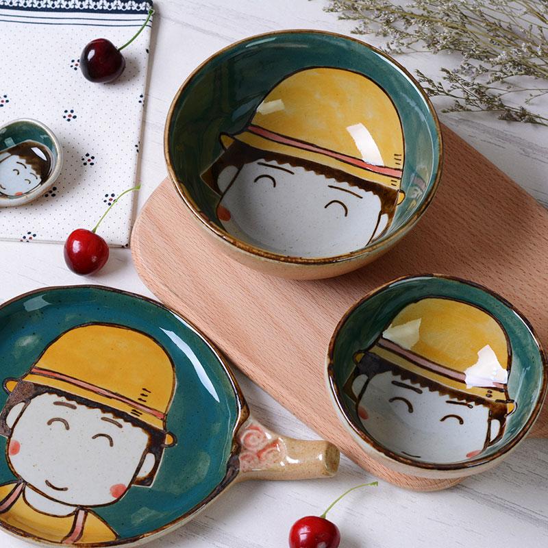 Cherry viên gốm bát đặt trẻ em nhà trẻ em bộ đồ ăn cá tính sáng tạo Nhật Bản dễ thương vẽ tay - Đồ ăn tối