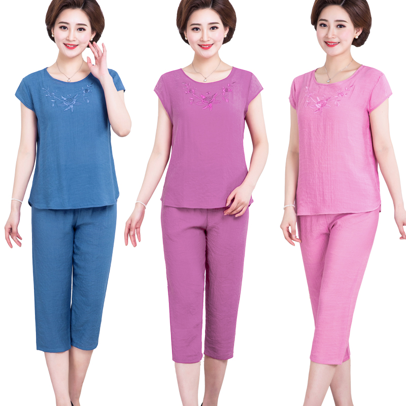 Mùa hè trung niên của phụ nữ vòng cổ bông và vải lanh ngắn tay t-shirt lỏng kích thước lớn cắt quần hai mảnh mẹ bộ