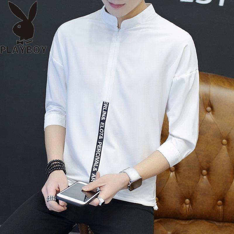 花花公子夏季透气七分袖男士衬衫韩版中袖衬衣男装立领T恤衫上衣