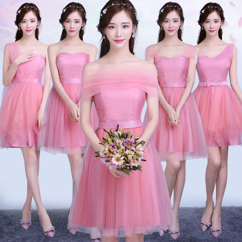 1b952310b16a bridesmaid dress short paragraph 2018 new korean version of the sister  group female summer party was