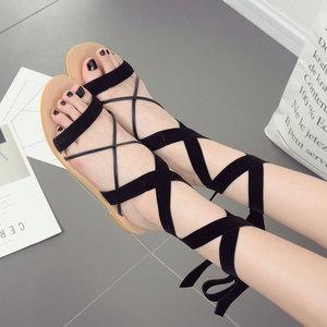 2017夏季新品絲絨交叉綁帶平底涼鞋女歐美平跟露趾羅馬女鞋