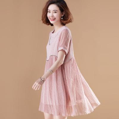 Quần áo hàng hoá ban đầu kích thước lớn đính cườm đôi đầm voan lỏng một từ váy váy 2018 mùa hè mới Sản phẩm HOT