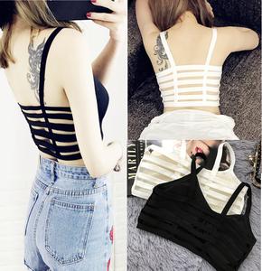 Lại rỗng ngắn sexy dây đeo nữ mùa hè 2018 new cotton Hàn Quốc phiên bản của hoang dã rắn màu slim vest ống top