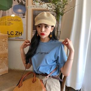 韩国chic颜色很特别吸睛蓝蓝的印花百搭字母简约基础款短袖T恤