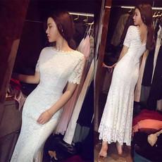 2018新款韩版性感短袖露背修身高腰鱼尾蕾丝连衣裙长裙