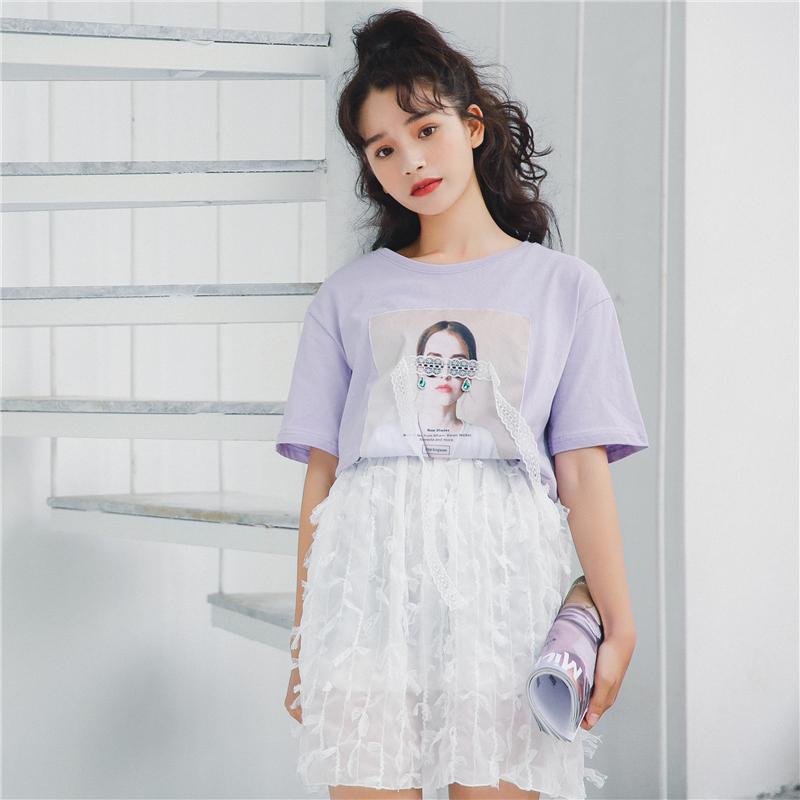 韩国ulzzang2018新款蕾丝拼接人物印花宽松T恤衫五分袖上衣潮