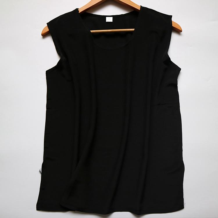 100% silk silk tuổi trung niên kích thước lớn không tay vest top của phụ nữ mẹ ăn mặc mùa hè LB016