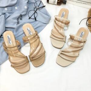 2018夏季温柔风两穿拖鞋凉鞋只做质量好的5cm小跟女神必备单品