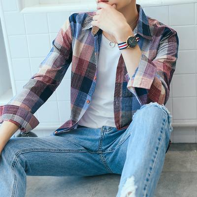 Mùa hè mỏng dài tay áo sơ mi nam Hàn Quốc phiên bản của Slim nam kẻ sọc đỏ áo thanh niên đẹp trai áo giản dị sơ mi cổ trụ Áo